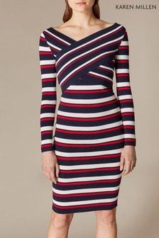 Karen Millen Multi Cross Front Stripe Knit Dress