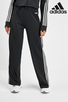 adidas D2M Black 3 Stripe Wide Leg Joggers
