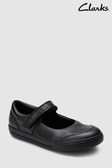 Clarks Black Leather Mini Sky Velcro Strap Shoe