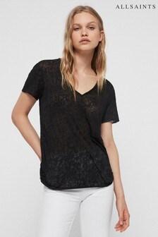 AllSaints Grey Leopard Print T-Shirt