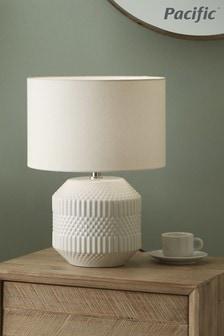 Pacific White Embossed Geo Ceramic Table Lamp