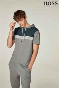 BOSS Grey/Navy Colourblock Short Sleeve Hoody