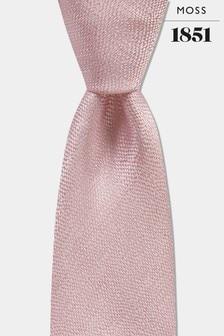 Jedwabny, różowy, melanżowy krawat Moss 1851