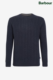 Barbour® Blue Essential Cable Crew Sweater