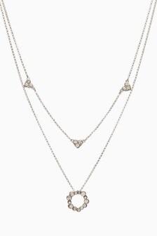 Tone Sparkle Heart Charm 2 Layer Necklace