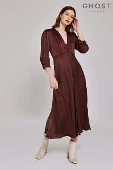 Ghost London Brown Madison Satin Dress