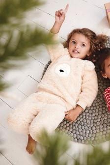 Flaušová súprava domáceho oblečenia s medveďom (9 mes. – 8 rok.)