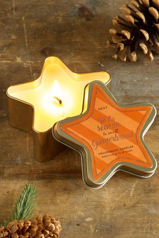 Gingerbread Star Shaped Tin Candle
