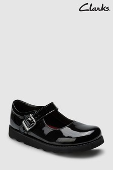 Clarks Black Patent Buckle Crown Leather Mary Janes