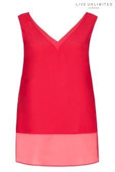 Live Unlimited Raspberry Chiffon Hem Vest