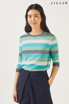 Jigsaw Green Cotton Slub Stripe Crew Jumper