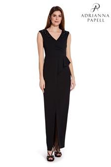 Adrianna Papell Black Draped Long Dress