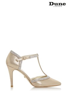 Dune London Gold Dilla Fabric T-Bar Diamanté Pointed Heeled Court Shoes