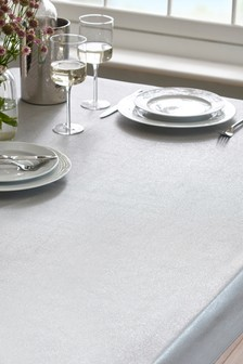 Silver Glitter PVC Table Cloth