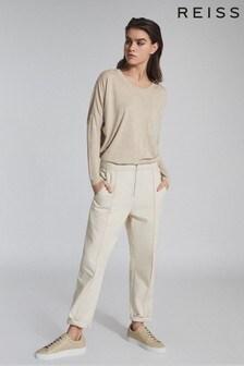 Reiss Camel Coraline Fine Jersey Long Sleeved T-Shirt