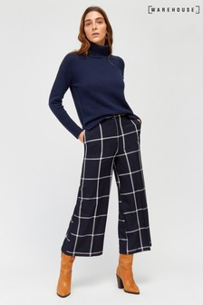 Warehouse Blue Windowpane Check Culotte
