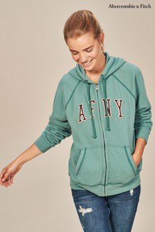 Abercrombie and Fitch Green Full Zip Logo Hoody
