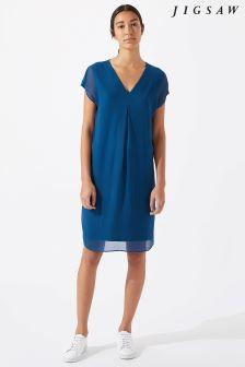Jigsaw Blue Pleat Front Silk Flare Dress