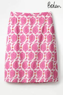 Boden Pink Printed Cotton Aline Skirt