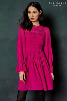 Ted Baker Bright Pink Frill Sleeve Dress