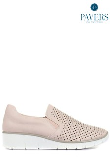 Pavers Pink Ladies Casual Slip-On Shoes With Cut Outs
