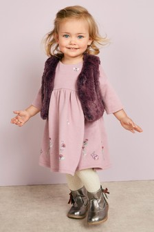 Embellished Dress And Gilet Set (3mths-6yrs)