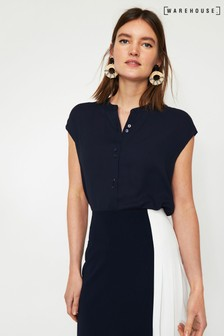 Warehouse Blue Split Back Blouse
