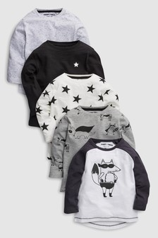 Racoon Long Sleeve T-Shirts Five Pack (3mths-6yrs)