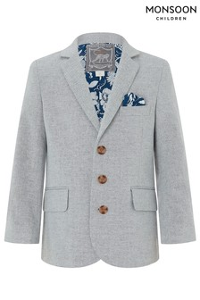 Monsoon Grey Otis Linen Mix Jacket