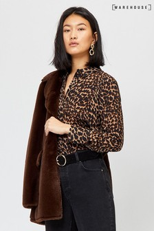 Warehouse Brown Leopard Print Shirt