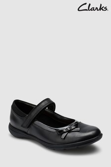 Clarks Black Leather Drew Star Junior Mary Jane