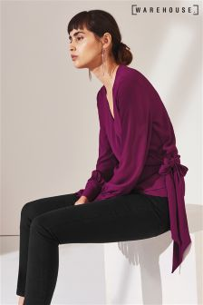 Warehouse Purple Tie Wrap Blouse