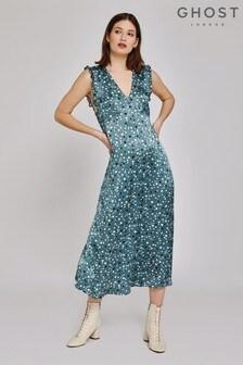 Ghost London Green Kaylee Evergreen Spot Satin Dress