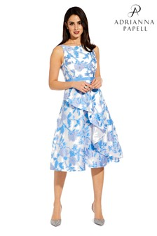 Adrianna Papell Blue Organza Jacquard Dress