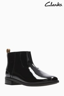 Clarks Black Patent Drew Moon Youth Ankle Boots