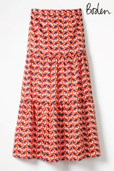 Boden Red Thea Maxi Skirt