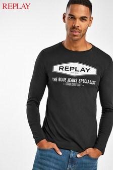 Replay® Black Logo Long Sleeve Top