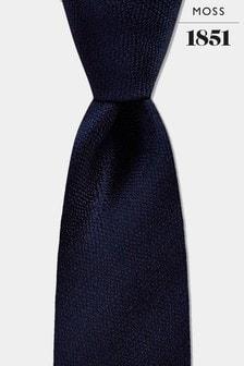 עניבת משי בצבע כחול מלאנז' כהה של Moss 1851