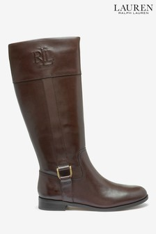 Ralph Lauren Brown Leather Embossed Logo Boots