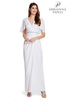 Adrianna Papell White Long Draped Jersey Dress