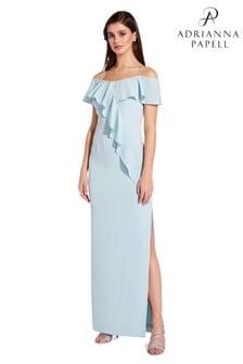 Adrianna Papell Blue Flounce Crepe Dress