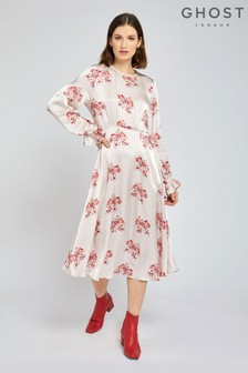 Ghost London Cream Mascha Floral Printed Satin Dress