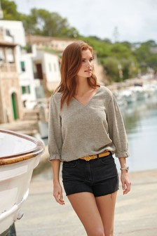 Linen Look Puff Sleeve Top