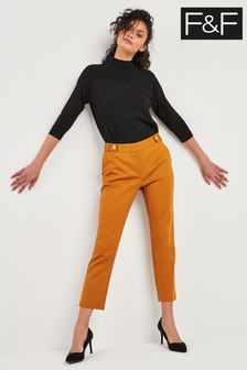 F&F Mustard Sustainable Slim Stretch Trouser
