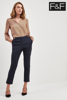 F&F Navy Sustainable Slim Stretch Trouser