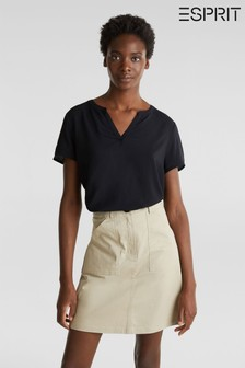Esprit Blouse Top With Pleats And Small Buttons At Sleeve