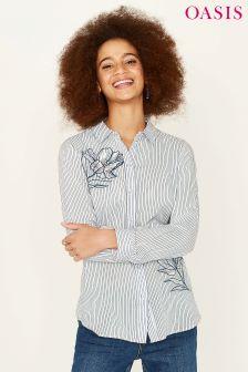 Oasis Natural Stripe Appliqué Shirt
