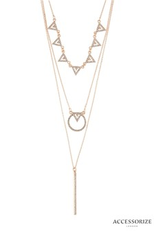 Accessorize Geo Sparkle Layered Necklace