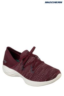 Skechers® Red Contrast Knit Slip-On With Alternative Lace Detail