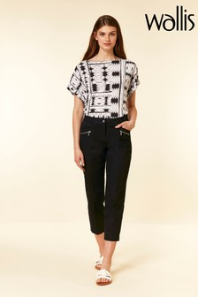 Wallis Black Zip Pocket Crop Trouser